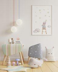 Mock up poster frame in children room,kids room,nursery mockup,W
